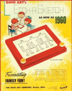 A 1960's advert for Etch a Sketch.