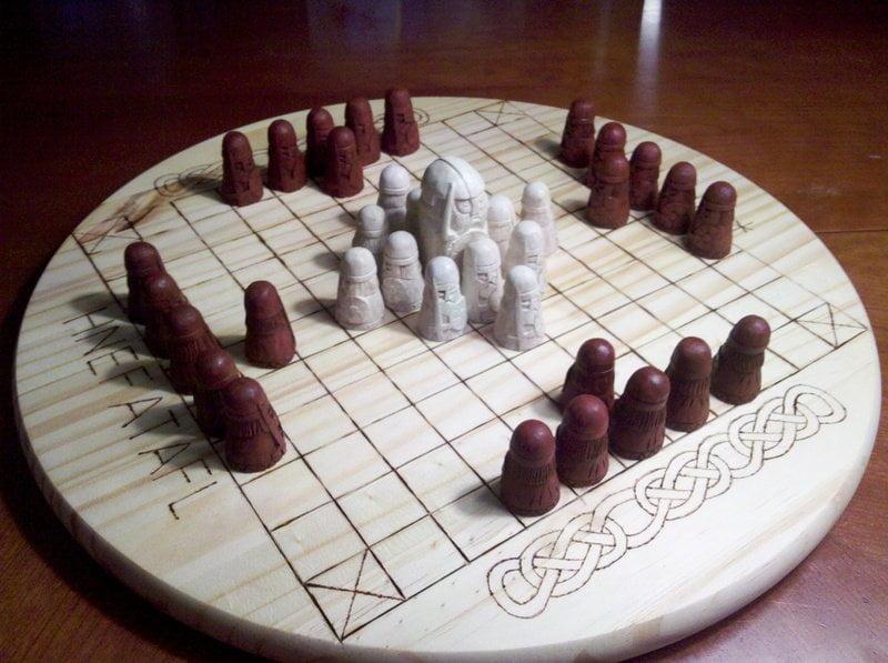 A replica Hnefatafl game board.